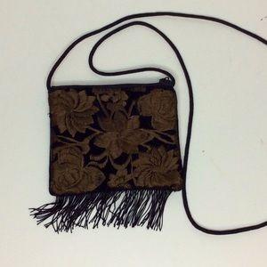Black Velvet Brown Floral Embroidered Mini Bag